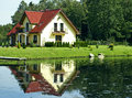 Family house on a Lake Royalty Free Stock Photo