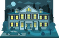 Family house in the night (diorama) Royalty Free Stock Photo