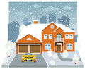 Family house in winter (diorama) Stock Photo