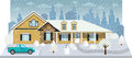 Family house in winter vector illustration of diorama Royalty Free Stock Images