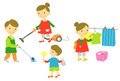 Family housekeeping cleaning Stock Photo