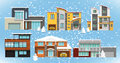 Family houses winter vector illustration of collection Royalty Free Stock Photography
