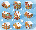 Family houses winter vector illustration of collection Stock Image