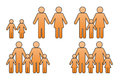 Family icon of different situations with man and woman and child Royalty Free Stock Photo