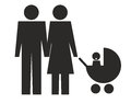 Family icon of heterosexual couple with baby in pushchair Royalty Free Stock Images