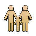 Family icon of heterosexual couple with child in the middle Stock Image