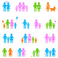 Family icon set colored on white background Stock Photo