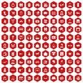 100 family icons hexagon red Royalty Free Stock Photo