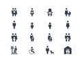 Family icons set of and couple Royalty Free Stock Images