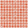 100 family icons set grunge orange Royalty Free Stock Photo
