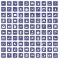 100 family icons set grunge sapphire Royalty Free Stock Photo
