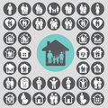 Family icons set. Royalty Free Stock Photo