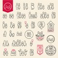Family icons set. People line icons. Family and child Royalty Free Stock Photo
