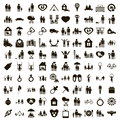 100 family icons set, simple style