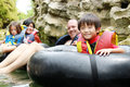 Family on inflatable tube Royalty Free Stock Photo