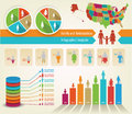 Family infograph infographics of tree and statistics with a usa map and all its countries Royalty Free Stock Images