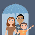 Family insurance cute cartoon under an umbrella metaphor for coverage vector illustration Stock Image