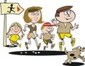 Family jogging cartoon Stock Photos