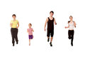 Family jogging mother three children little girl two teenagers boy girl running fitness workout isolated white background Stock Images