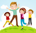 Family jumping Royalty Free Stock Images