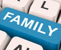 Family key means blood relation or relatives on keyboard meaning relations Stock Photography