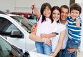 Family with keys of new car Royalty Free Stock Photo