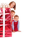 Family with kid giving Christmas gift box. Stock Photography