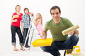 Family with kids redecorating their home Royalty Free Stock Image