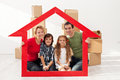 Family with kids in their new home Royalty Free Stock Photo