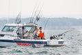 Family on Lake Ontario - Charter Boat Fishing Salmon Royalty Free Stock Photo