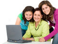 Family on a laptop computer Stock Image