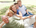 Family laying in line Royalty Free Stock Photo