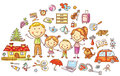 Family life and household set colorful cartoon Royalty Free Stock Photography