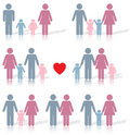 Family life icon set in color with a red heart Stock Photos