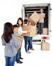 Family loading a truck Stock Photos