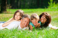 Family lying on grass Stock Images