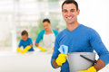 Family man cleaning happy men home with his Stock Photos