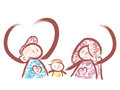 Family Mascot love gesture. Home and Family Character Design Ser Royalty Free Stock Photo