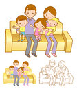 Family Mascot in a Sitting on the sofa. Home and Family Characte Stock Photo
