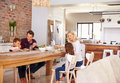 Family mealtime at home Royalty Free Stock Photo