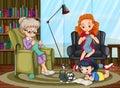 Family members enjoying freetime together illustration Royalty Free Stock Photo