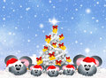 Family of mice at christmas illustration Stock Images