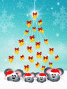 Family of mice at christmas illustration Royalty Free Stock Photos