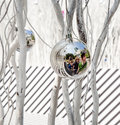 Family is mirroring in christmas white painted branches give a harmonic background with chrismas tree balls and of a Stock Images
