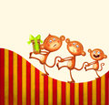 Family of monkeys with a prezent Royalty Free Stock Photos