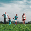 Family mother father and two child run on field Royalty Free Stock Photo