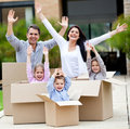 Family moving home Stock Photo