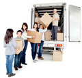 Family moving house Royalty Free Stock Image