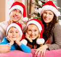 Family near the christmas tree big with kids Royalty Free Stock Photography
