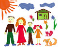 Family near the house and pets their hand drawing illustration of as a children paint picture Stock Image